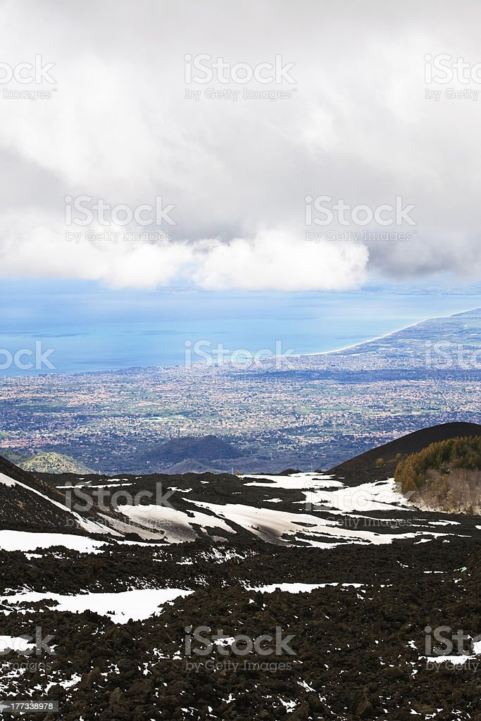 Etna and Catania stock photo