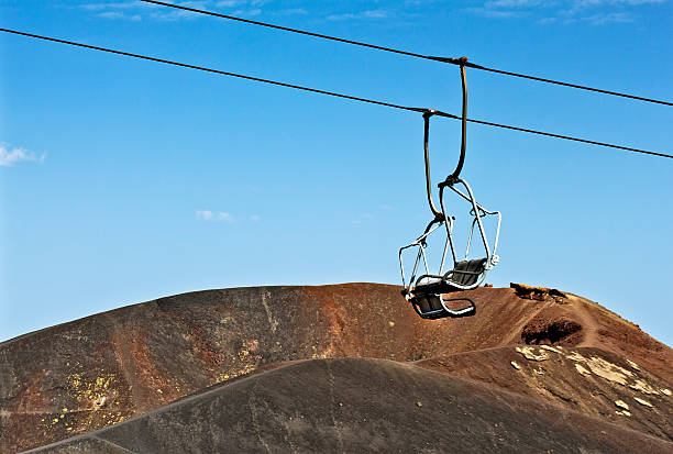 Etna cableway stock photo
