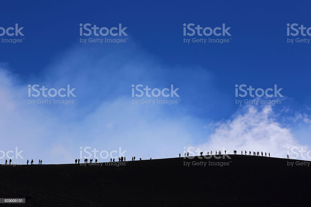 Etna crater rim stock photo