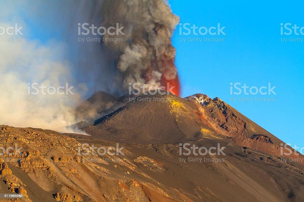 Etna erupting in October 2013 stock photo