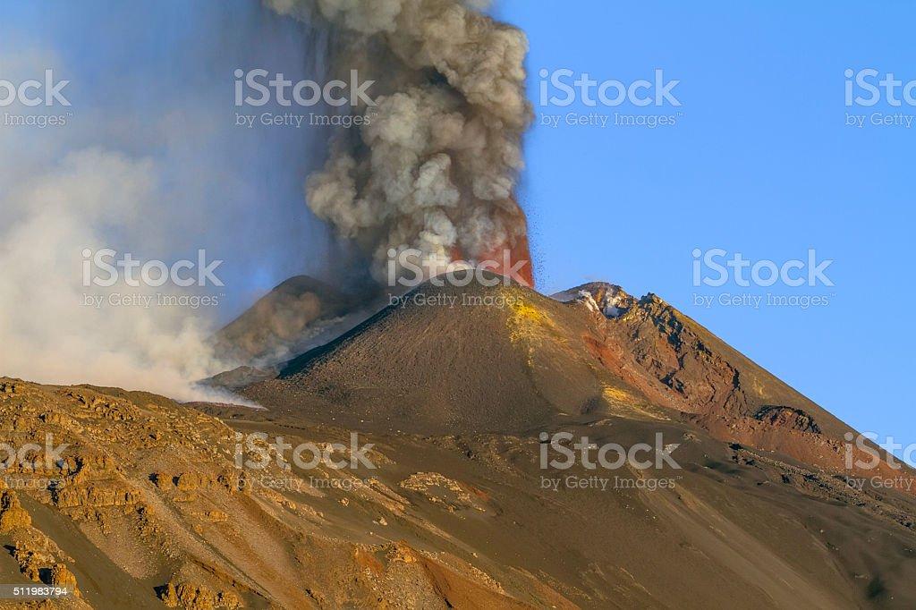 Etna erupting stock photo