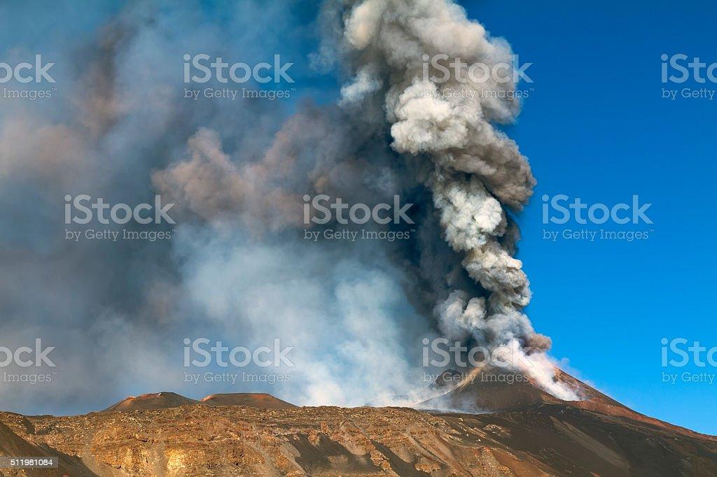 Etna eruption in October 2013 stock photo