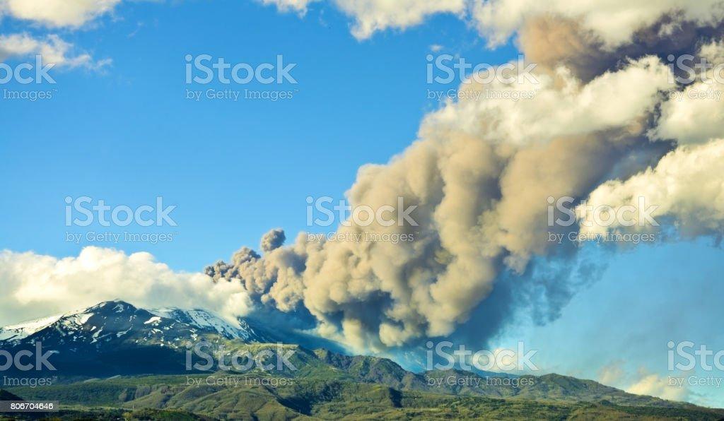 Etna eruption stock photo