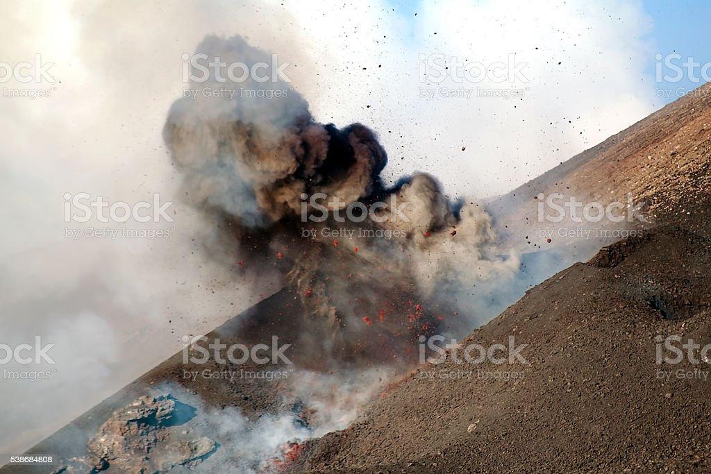 Etna explosion stock photo