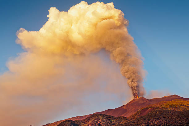Etna fire and smoke stock photo