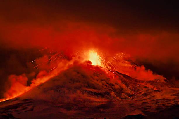 Etna Fire stock photo