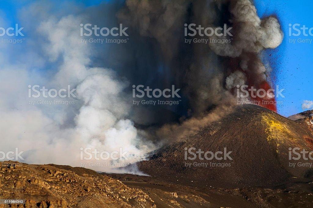 Etna paroxysm stock photo