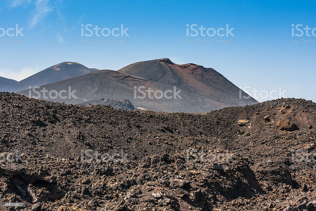 Etna summit craters of south-east panorama, Sicily royalty-free stock photo