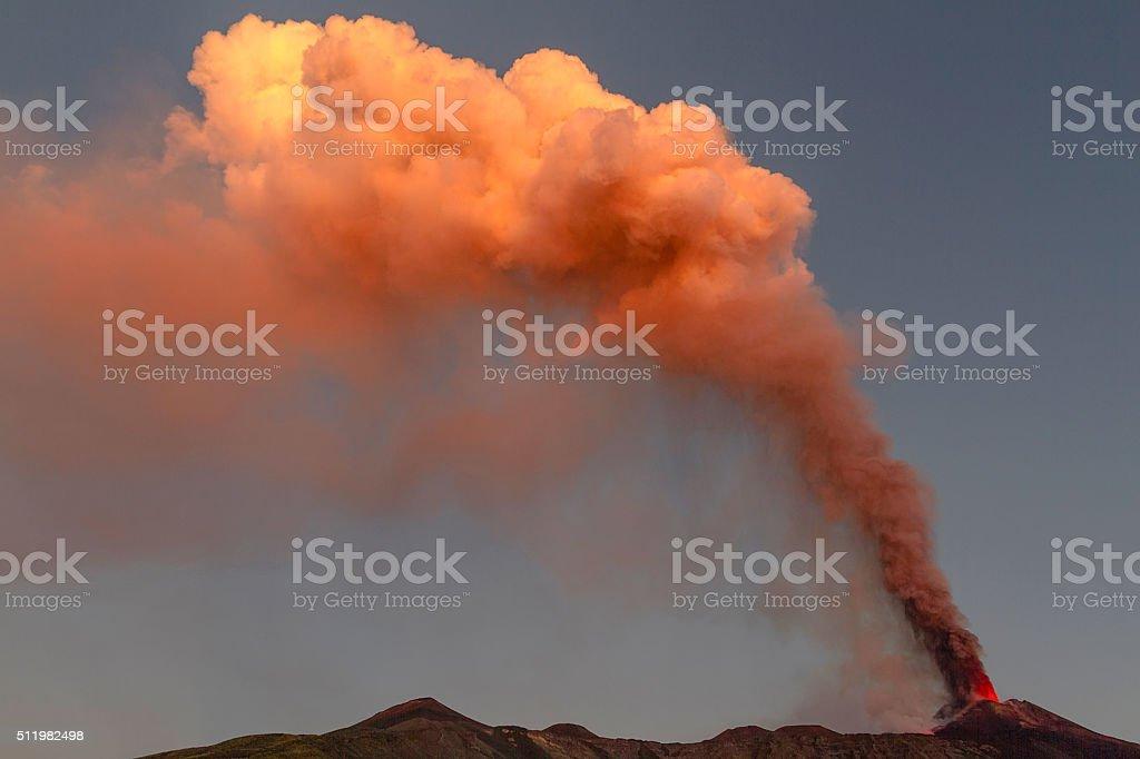 Etna, volcanic plume dawn stock photo