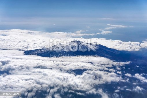 View from the plane through clouds