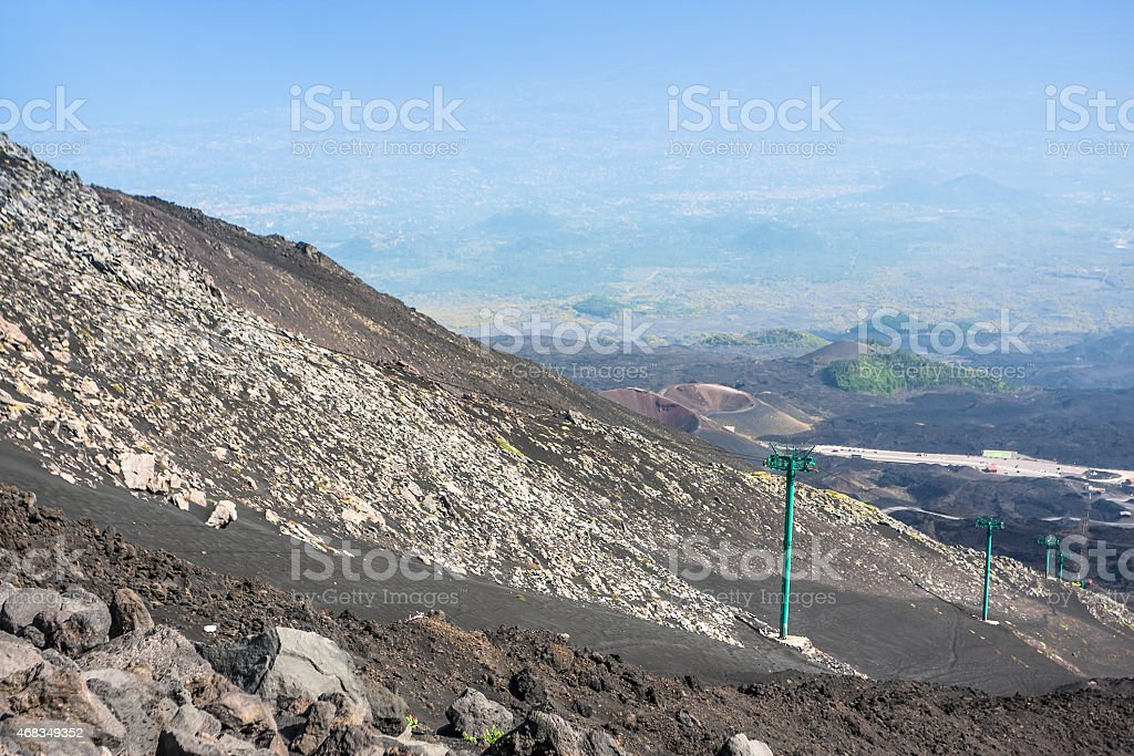 Etna volcano craters in Sicily royalty-free stock photo