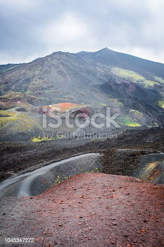 Landscape of volcano Etna at Sicily in Italy
