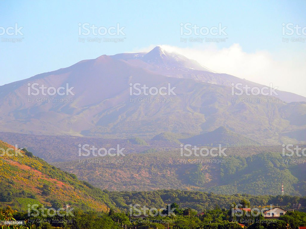 Etna volcano smokes. royalty-free stock photo