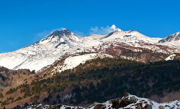 Etna winter landscape stock photo