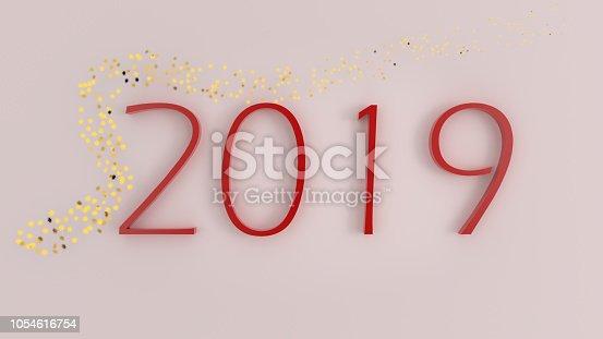 La nouvelle année 2019 écrite en rouge sur un fond rose, avec des étoiles dorées.