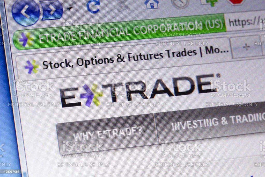 Etrade homepage macro stock photo
