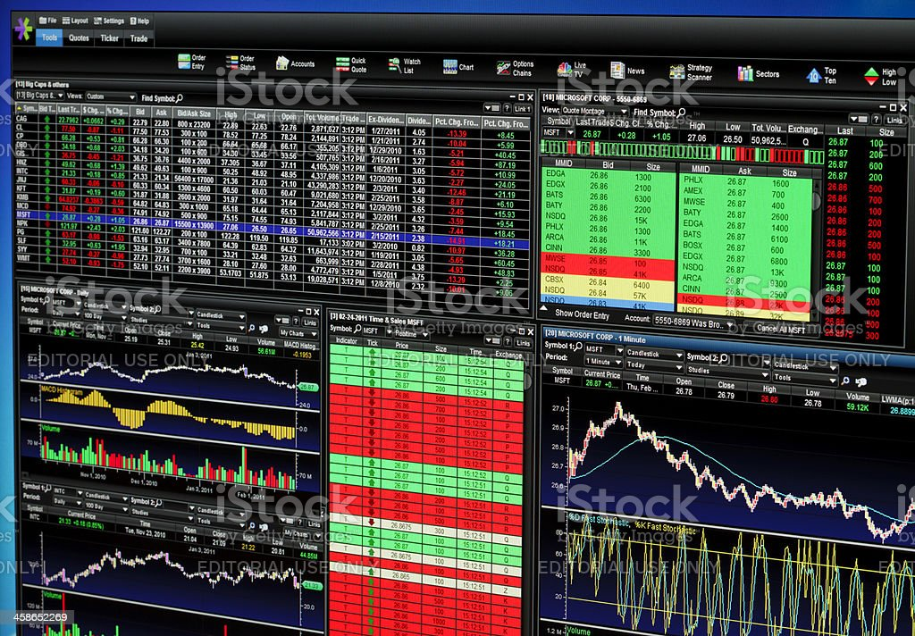 Etrade Trading Platform Stock Photo More Pictures Of Chart Istock