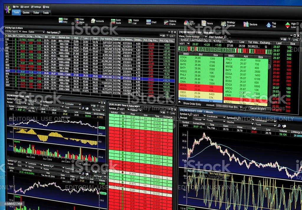 Etrade trading platform stock photo