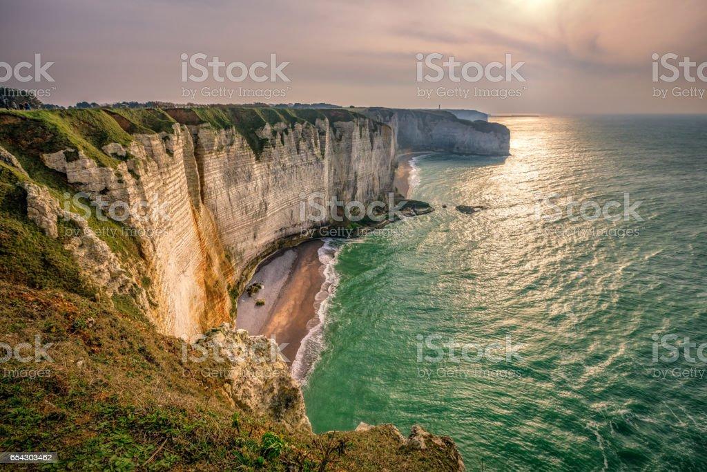 Etretat at sunset, Normandy, France stock photo