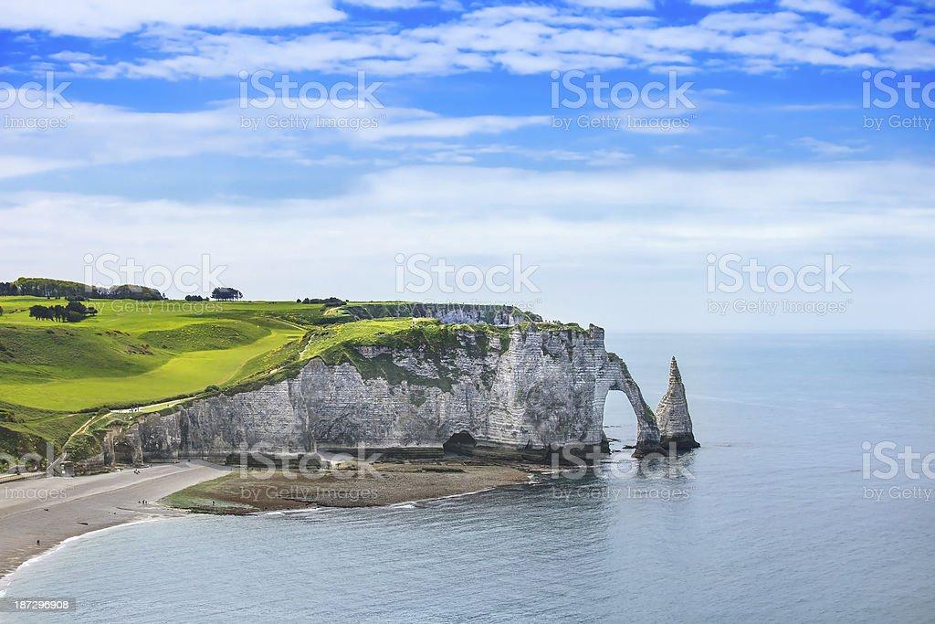 Etretat Aval cliff and rocks landmark. Normandy, France. stock photo