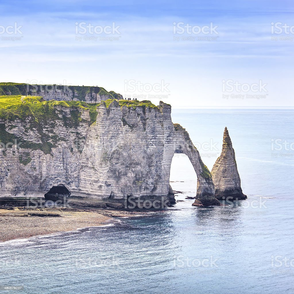 Etretat Aval cliff, rocks landmark and blue ocean . Normandy, stock photo