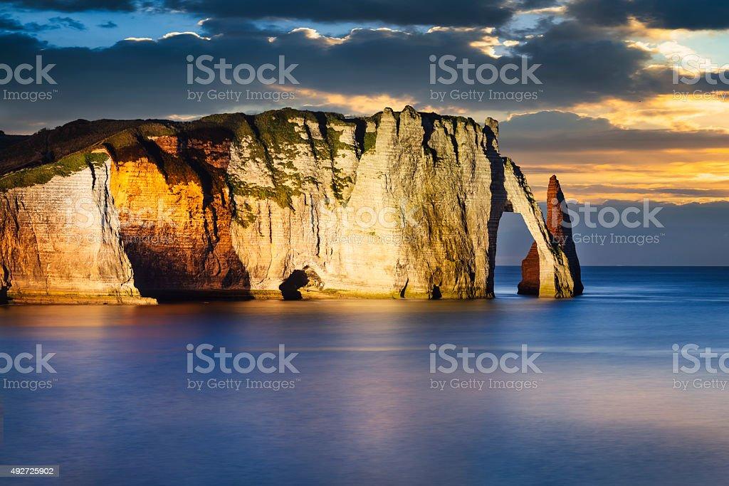 Etretat cliff in normandy stock photo