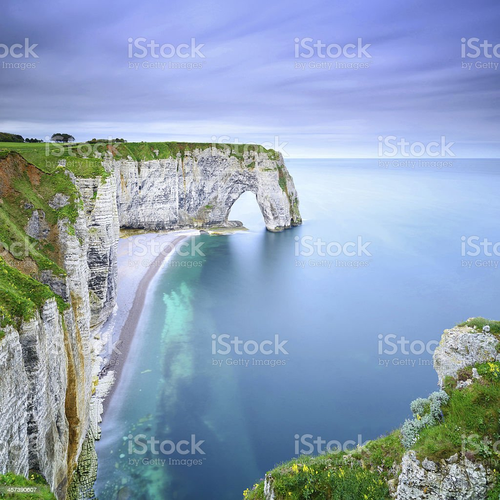 Etretat, Manneporte natural rock arch and its beach. Normandy, France stock photo