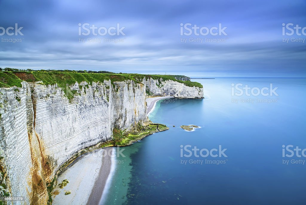 Etretat, rock cliff and beach. Aerial view. Normandy, France stock photo