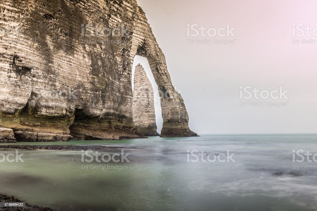 Etretat Rock Formation in Normandie France stock photo