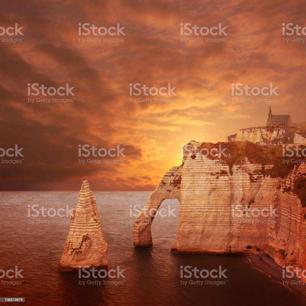Etretat sunset cliffs stock photo