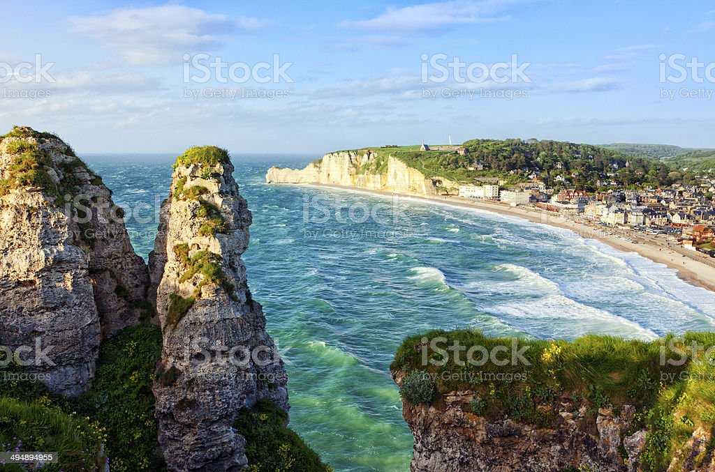 Etretat, view from the cliffs stock photo