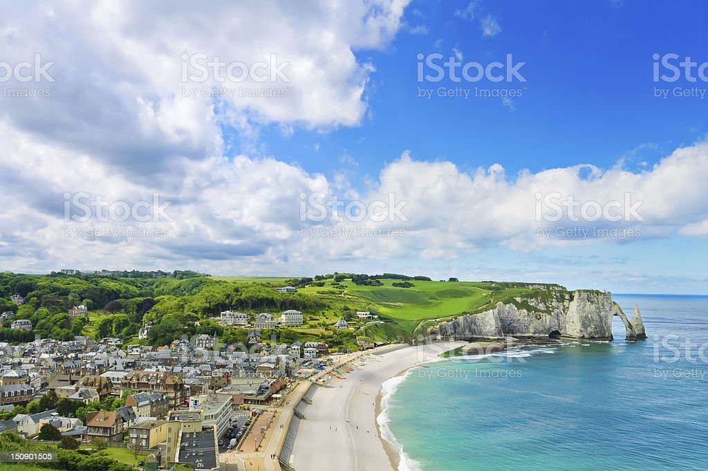 Etretat village and beach, Aval cliff. Normandy, France. stock photo
