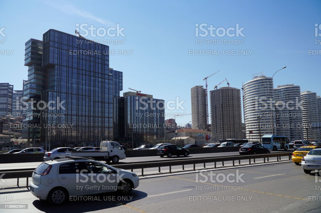 Etstur Building with other skyscrapers and constructions at The Kadikoy-Merdivenkoy District stock photo