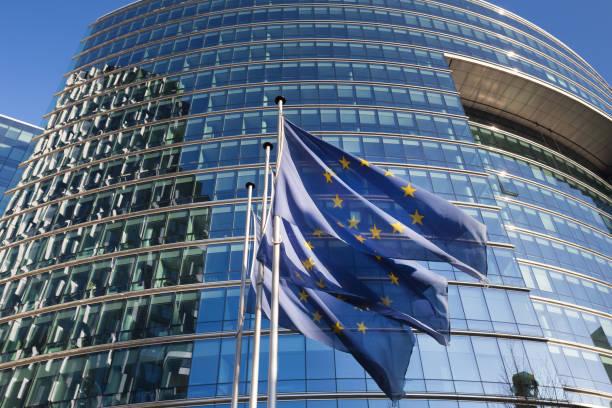 banderas de la UE en Bruselas Bélgica - foto de stock