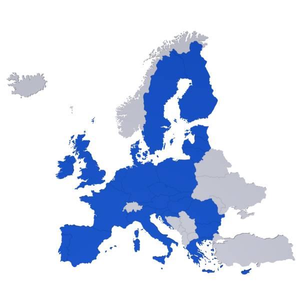 eu-karte 3d eu euro europa isoliert ausgeschnitten auf weißem hintergrund - ec karte stock-fotos und bilder