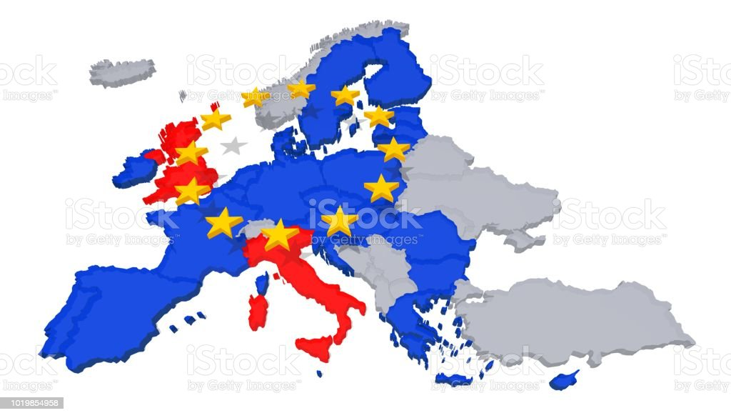 Eu Map Political Problems Brexit Italy Uk Great Britain Europe 3d