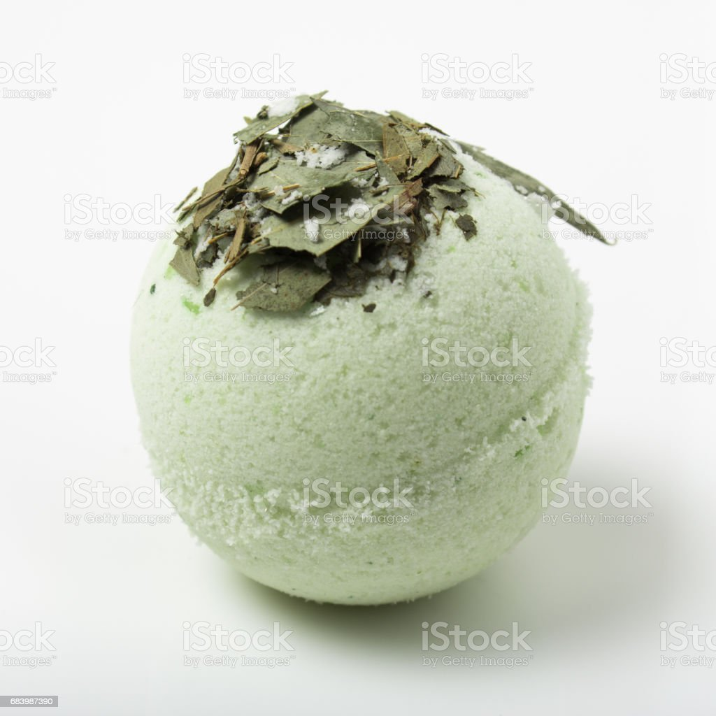 eucalyptus bath bomb on a white stock photo