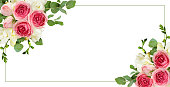 istock Eucalyptus leaves, freesia and pink rose flowers in corner arrangements with frame 965585710