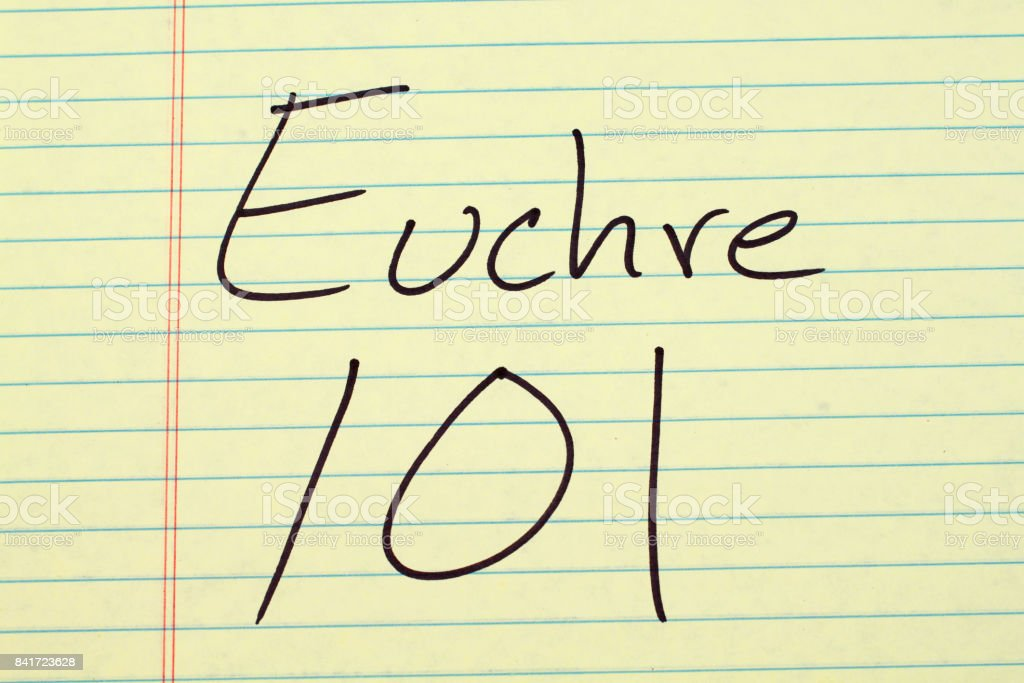 Euchre 101 On A Yellow Legal Pad stock photo