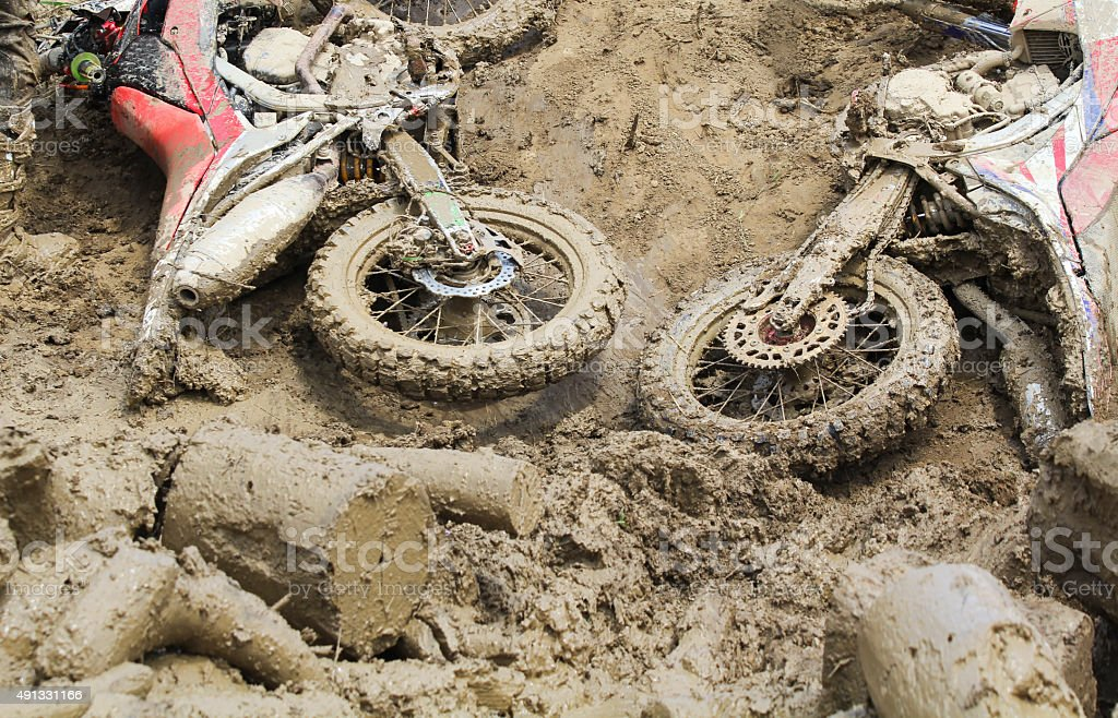 Euduro bike fall down in track. stock photo
