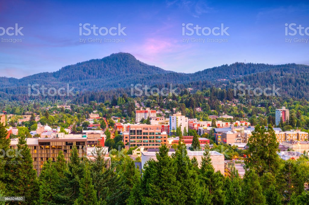 Eugene, Oregon, USA Skyline stock photo