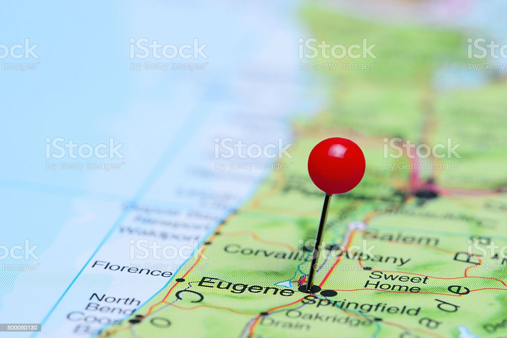 Eugene Pinned On A Map Of Usa Stock Photo - Download Image