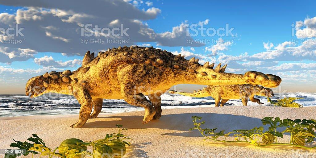 Euoplocéfalo Dinosaur - foto de acervo