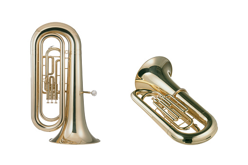 Euphoniums isolated on white background with clipping mask.