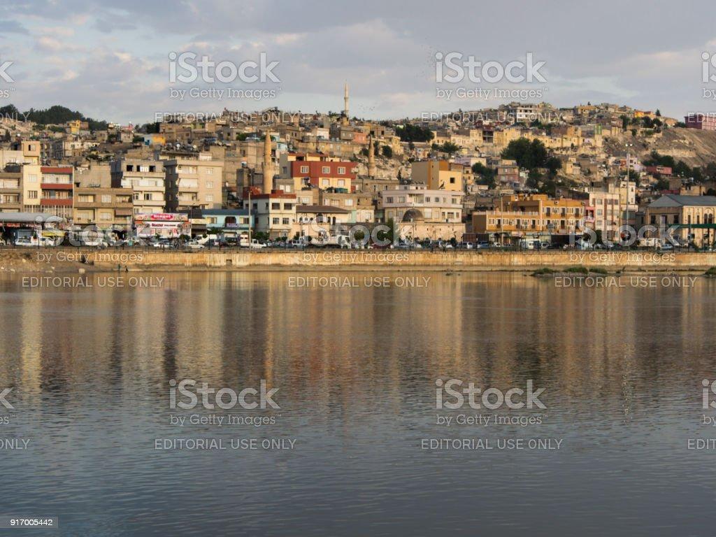 Euphrates river in Birecik, Turkey. stock photo