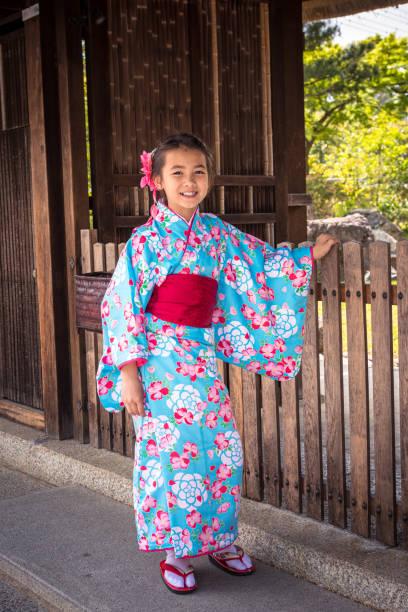 Eurasian Girl dressed in her Kimono in Kyoto, Japan stock photo