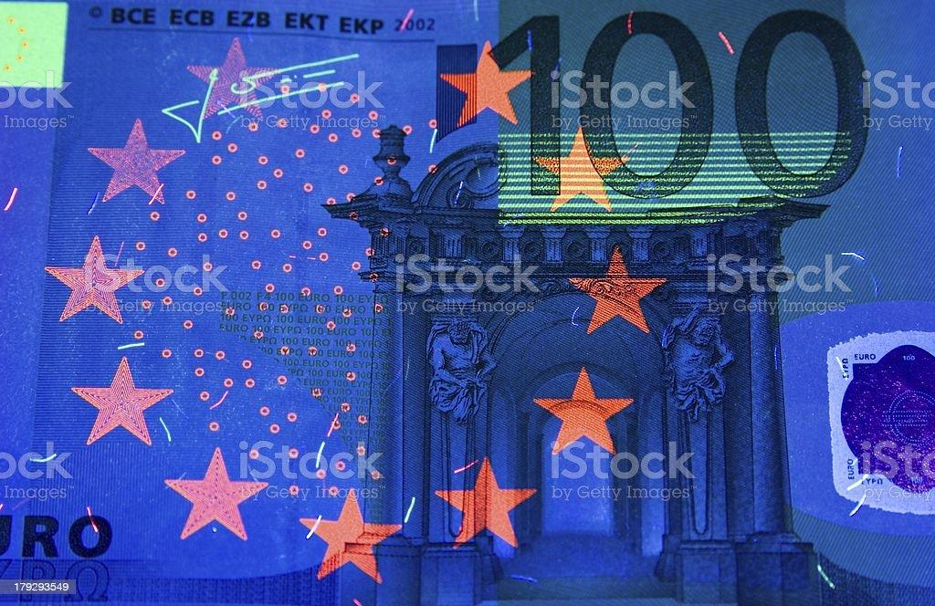 Euro 100 in UV stock photo