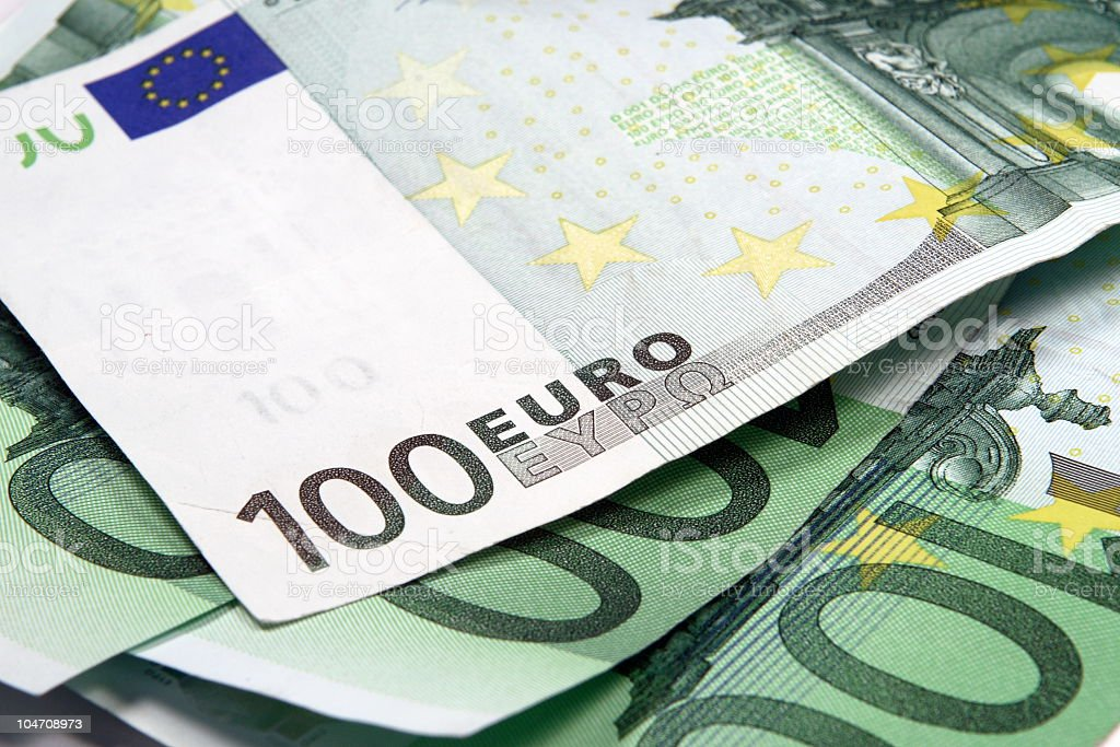 Euro 100's bank notes royalty-free stock photo