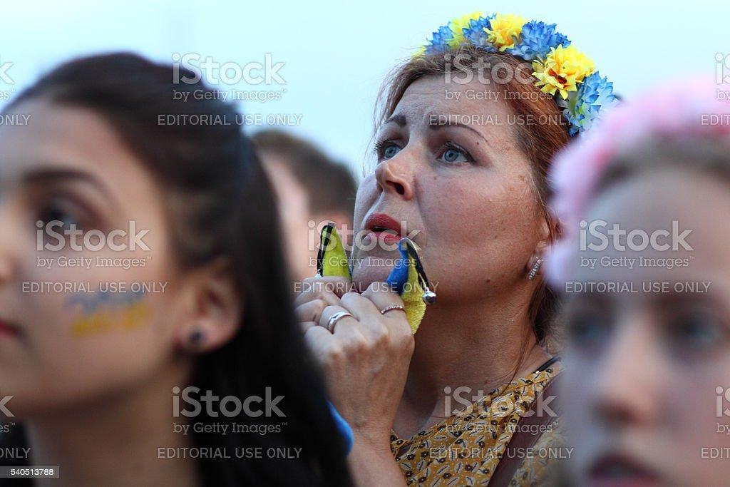 Euro 2016 fanzone in Kharkiv, Ukraine stock photo