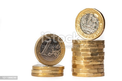 istock Euro and British Pound Coins 1011996090